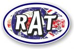 RAT Oval Funny Parody Design With RAF mod Target Motif Vinyl Car sticker decal 120x77mm
